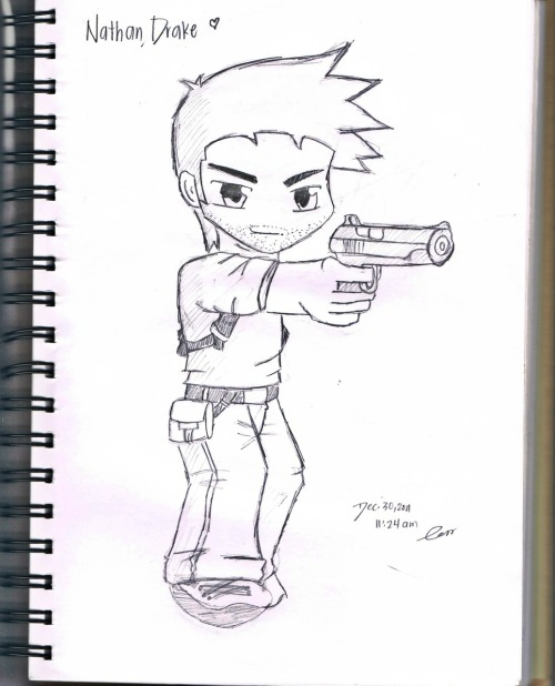 My chibi Nate drawing.  I copied this from another drawing on the internet. Mine's lame though. And it just looks like he's missing an arm or something. HAHA. It's quite funny. Uncharted. ^_^