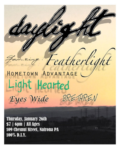 This is Hometown Advantage's next show. Daylight is so good.