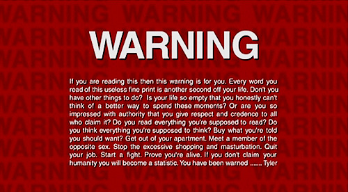 The anti-piracy warning on the Fight Club DVD