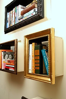These frame-shelves from Change of Scenery are awesome! See more here. reccashay:  Thrift store frame + simple wooden box + paint and hook