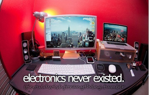 If I could wish for anything… I would wish that electronics never existed.