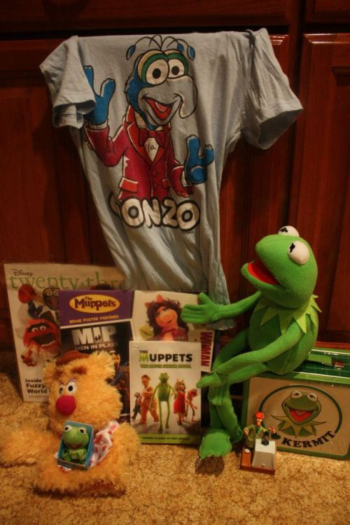 nevertoooldtolovemuppets:  By the by… this is the haul I got for Christmas! All my Muppety gifts! You've got the Kermit plush sitting on top the Kermit lunchbox, with the Beaker ornament in front of it. The Fozzie Bear puppet has the tiny Kermit on top of him, and he's in front of the D23 Muppet themed magazine and the Muppet calender. Then The Muppets junior novel is in the middle, and at the top, of course, is my lovely Gonzo shirt. A great group of gifts! (Also, today, my roommate (who works at our town's movie theater) gave me a giant poster of The Muppets! It's hanging up in our living room!)