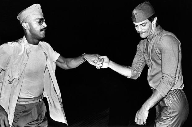 Two men dance during the 1978 New Year's Eve party at the Backlot at Studio One, a popular gay nightclub in West Hollywood.  (Photo by George Rose)