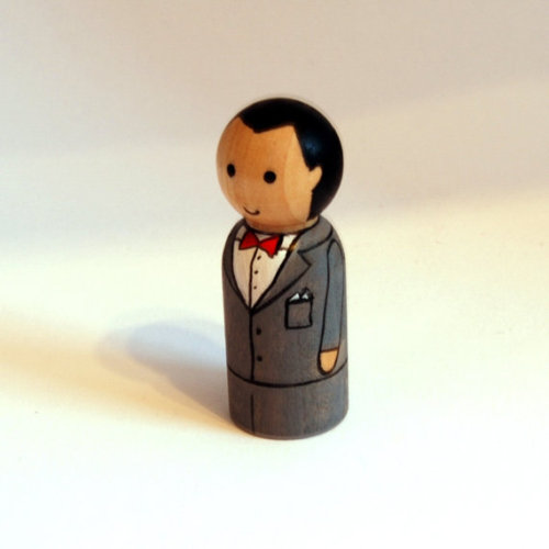 Peg doll version of Pee-wee Herman - a custom order, with a wee smile requested!