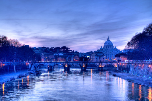 """Saint Peter and Angels' Bridge - Ponte Sant'Angelo, Rome - Italy by L.G."