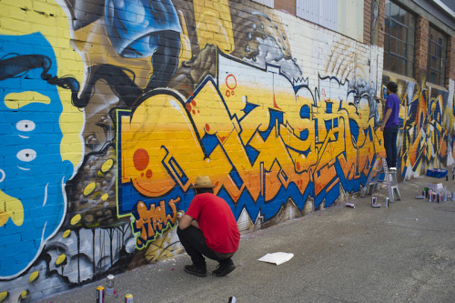 Threw some paint up in this epic production down Parry Lane in Northbridge, with some fucking amazing dudes: Ayre, Fecks, Daek, Fudge, Hosay. (Piece in the photo) Never got a good pic but half my big dumb head is in this one, which i stole from Luke Thompson (http://lukeshootsphotos.tumblr.com)