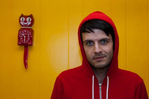 R.J. yellow wall/red cat/red hoodie/looking crazy.  taken by Rob.