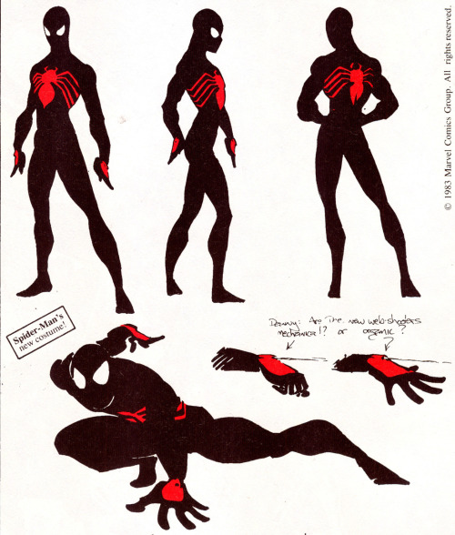 charactermodel:  Spider-Man early Black Costume Design by Randy Schueller, 1982 [ Secret Wars ] Read the story of this costume design here!