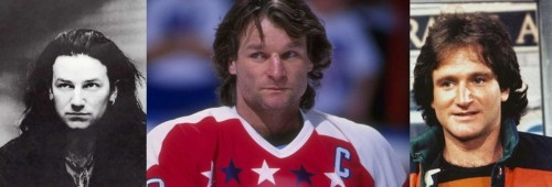 Our coach has two celebrity look-alikes. Do you think '80s Dale Hunter looks more like '80s Bono or '80s Robin Williams?