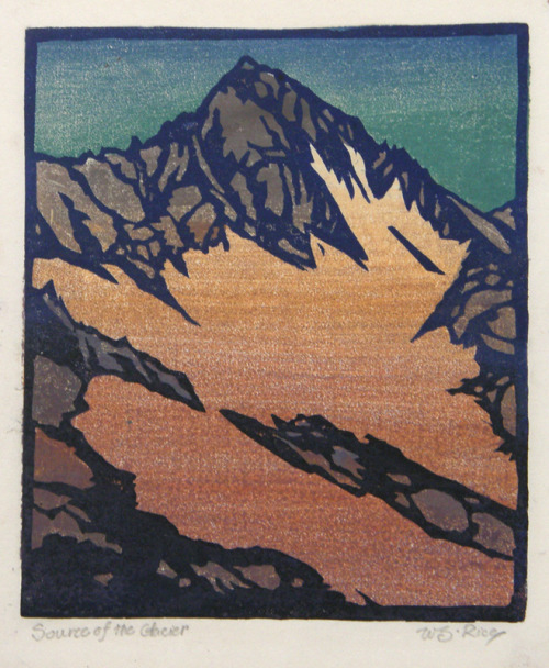 yama-bato:   Source of the Glacier   Artist  William Seltzer Rice   		 			1873 - 1963 		  		 			(biography) Year c. 1920   Technique color woodcut