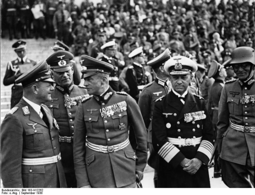 missfuehrer:  Erhard Milch, Wilhelm Keitel, Walther von Brauchitsch, Erich Raeder, and Maximilian von Weichs during a Nazi rally in Nuremberg, Germany, 12 September 1938