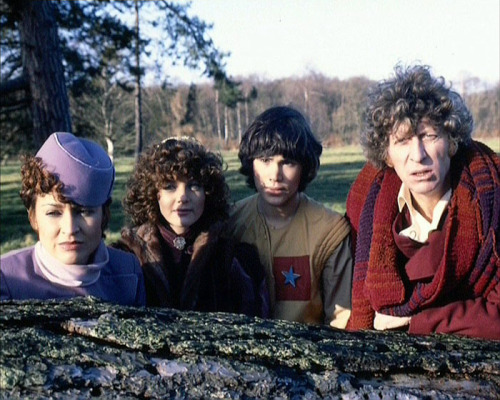 Tegan and Nyssa and Adric and The Doctor in 'Logopolis'