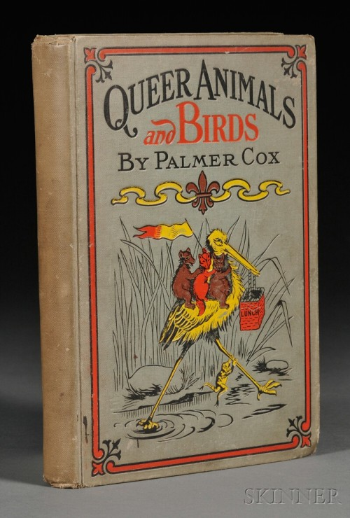 "Queer Animals and Birds Containing amusing stories in rhymes and jingles. Palmer Cox, Washington: Horace Fry, 1905,  Pictorial cloth, small 4to, (bumped, chipped, spine a bit sunned, pencilings to flyleaf, starting).  B-A Note:  About the author (via wikipedia):  ""Palmer Cox (April 28, 1840 – July 24, 1924) was a Canadian illustrator and author, best known for The Brownies, his series of humorous verse books and comic strips about the mischievous but kindhearted fairy-like sprites. The cartoons were published in several books, such as The Brownies, Their Book (1887). Due to the popularity of Cox's Brownies, one of the first popular handheld cameras was named after them, the Eastman Kodak Brownie camera.""  Interestingly, the wikipedia article does not include this particular book in the bibiliography for Cox."