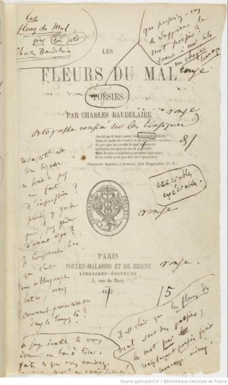 Baudelaire Les Fleurs du mal (1857) First edition with author's notes