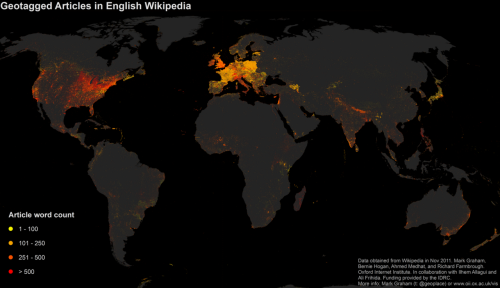 "geocrusader80:  Article Quality in English Wikipedia ""In the map above, yellow dots represent the location of relatively short articles (such as the ""Jericho Tavern"") in the English version of Wikipedia, while red dots indicate the location of relatively long articles (for instance, ""Penzance"")."""