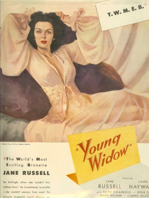 Jane Russell's movie poster of her movie Young Widow (1946)