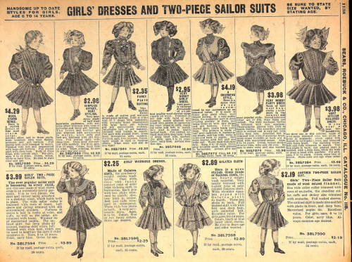A selection of girls' sailor suits from the Fall 1908 Sears catalog.