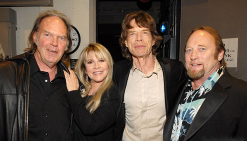 Neil Young, Stevie Nicks, Mick Jagger and Stephen Stills (April 17, 2007)