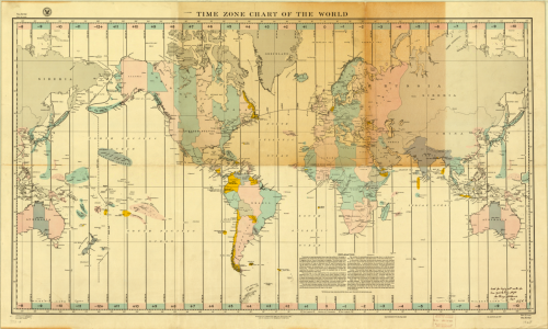 Charles A. Lindbergh, 1927, Time Zone Chart of the World