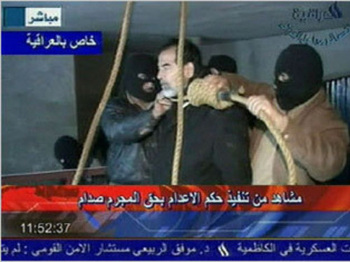 "This day in history: Saddam Hussein is executed at joint American-Iraqi military base ""Camp Justice"" after being found guilty of the 1982 killing of 148 Shia Muslims in the town of Dujail, Iraq. December 30, 2006 - Five years ago today."