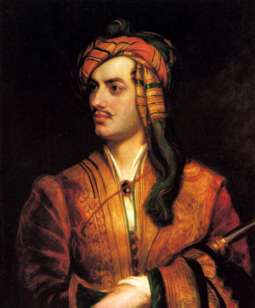 "fuckyeahhistorycrushes:  Lord Byron. He's been featured before, because what horny teenager hasn't happened across his portrait and been like, ""DAMN,"" but you're missing THE picture that rocked my teenage world."