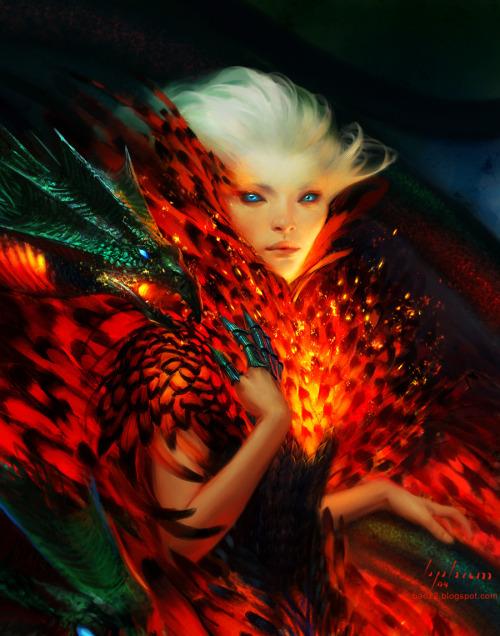 baopham portrait imagineFX cover dragon feathers fire