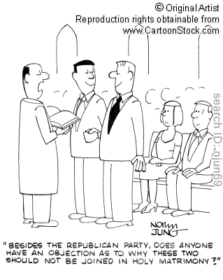 "lgbtlaughs:  [Image: A political cartoon which shows a priest officiating the marriage of two happy-looking men in a full church. The priest says, ""Besides the Republican Party, does anyone have an objection as to why these two should not be joined in holy matrimony?""]"