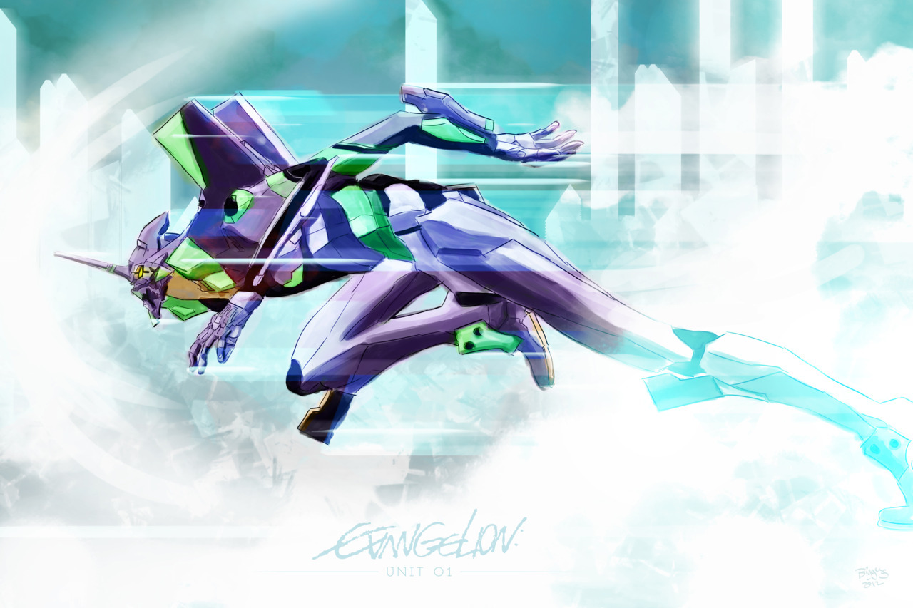Evangelion Unit 01 Digital Painting from Evangelion Anime series. ©2011 Barrett Biggers Print for sale at Society6.