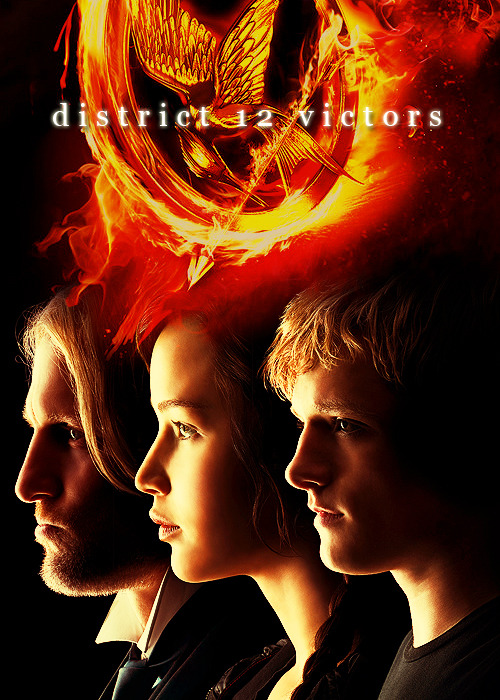 imamockingjay:  District 12 Victors  Haymitch Abernathy, Katniss Everdeen and Peeta Mellark