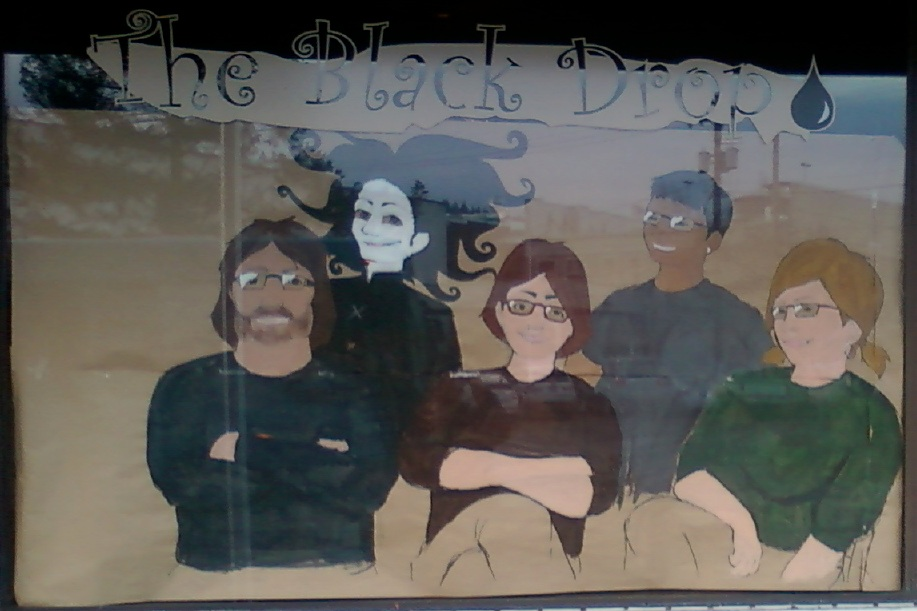 The Black Drop Coffeehouse (c) 2009 window covering
