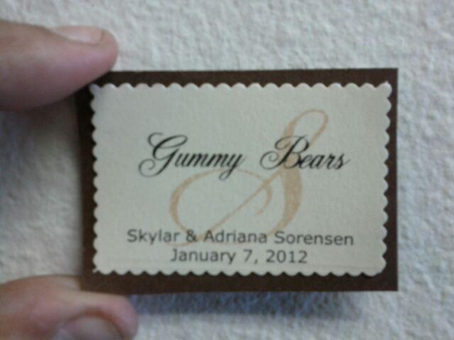 Labels for the candy table :) Lots of DIY in this wedding!
