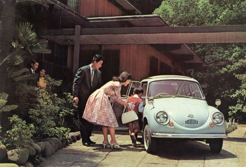 Subaru 360 promotional image, 1958 (via Product Design Data Base)