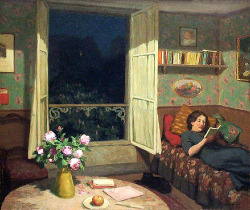 iloverainandcoffee:  Simon, Tavik  (Czech, 1877-1942)  - Vilma reading on a Sofa  -  c 1912 (di *Huismus)