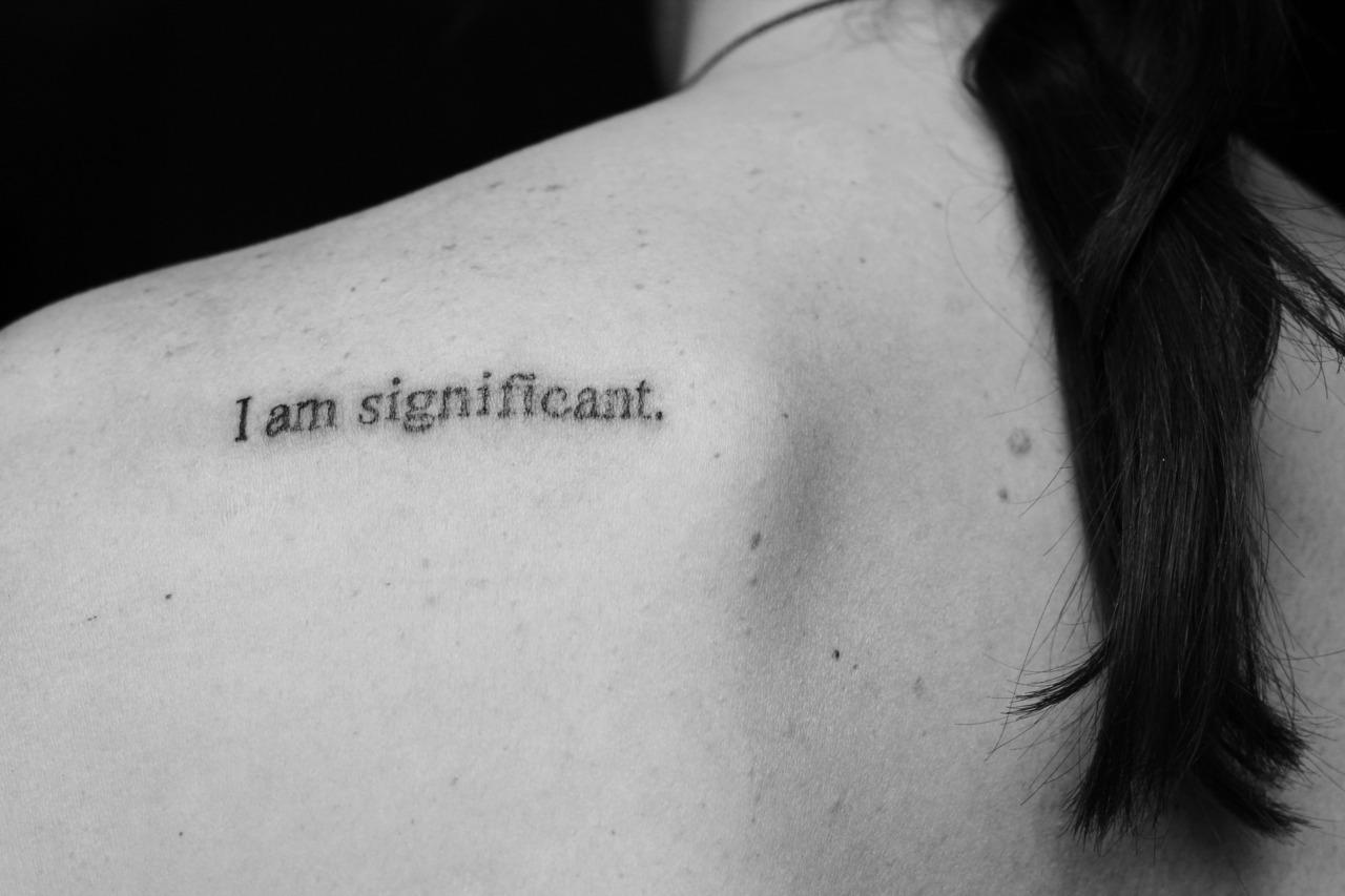 fuckyeahtattoos:  I've been wanting to get this tattoo done for a awhile, but didn't tell anyone about it. Throughout middle school and high school I had really low self-esteem. I didn't think I was smart, attractive, or important. I would stay with guys that weren't nice to me and let them treat me like shit. Over the past year I feel like I have grown up so much, and this tattoo reminds me that I am worthy of love, respect, happiness, and so much more.  Done by Erik at Ikon Tattoo in Boise, Idaho.