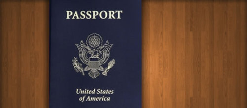 Passport on a wood Desk.