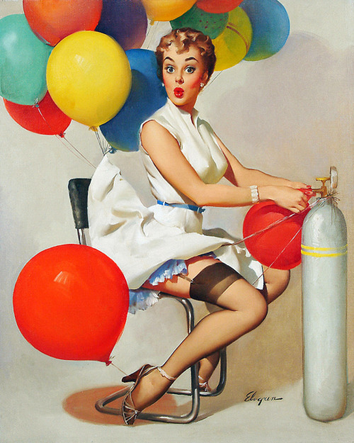 """Taking Off"" by Gil Elvgren 1955"