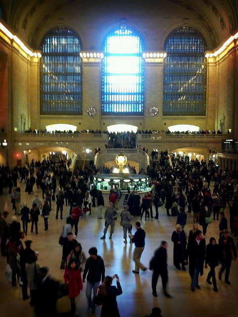 Grand Central's Main Terminal about 4pm on a Friday. Love this shot out of all the ones I took because of the two soldiers in the middle of the frame.