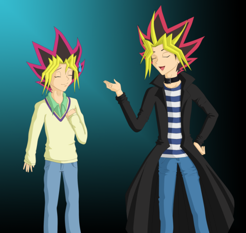 yami-nexus:  They look good in Bakura and Ryou's clothes.  And suddenly I couldn't draw fast enough.