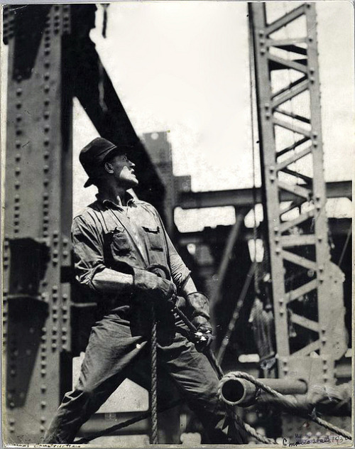 Worker pulling on a rope, Empire State, 1931, by Lewis Wickes Hine by Photo Tractatus on Flickr.