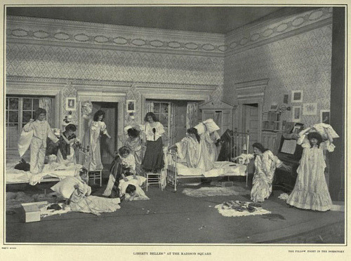 edwardianera:  Edwardian Theatre: The pillow fight from the Dormitory Scene from 'Liberty Belles' at the Madison Square Theatre on W 24th Street N.Y. - 9/30/1901