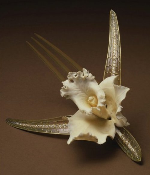 Orchid Comb by Rene Lalique 1902 Ivory, Gold and Plique-a-Jour enamel