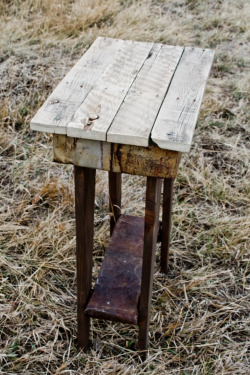 Occasional Table. 24 1/2″ x 14″. Crafted from reclaimed wood pallets and old mine tin. $60