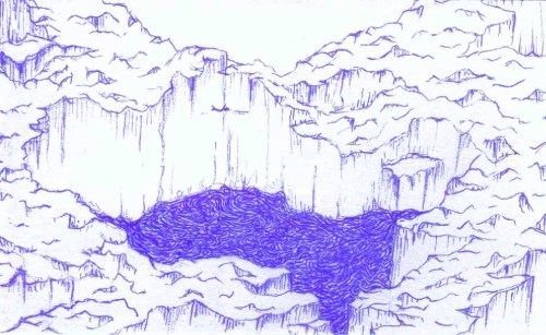 Ballpoint pen on an index card. Preliminary sketch. I may continue later.