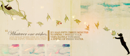 "rosenthrall:  Fifty-Three Minutes Quote from The Little Prince, Chapter 23.  ""Good morning,"" said the little prince.  ""Good morning,"" said the merchant.  He was a merchant selling sophisticated pills intended to quench one's  thirst. If a single pill was swallowed once a week, the need to drink  disappeared.  ""Why are you selling those?"" asked the little prince.  ""Because it saves a lot of time,"" said the merchant. ""Experts have worked it all out. You save fifty-three minutes a week.""  ""And what does one do with those fifty-three minutes?""  ""Whatever one wishes.""  ""If I had fifty-three minutes to spend,"" said the little prince, ""I would walk very slowly towards a spring of fresh water…"""