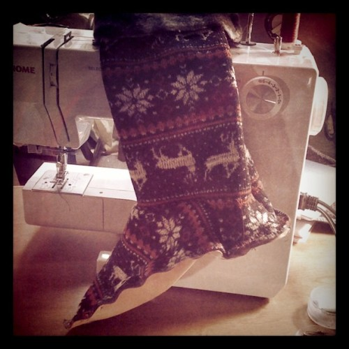 Late night sewing experiment… Slipper socks! Pattern almost completed in half a days work. (Taken with instagram)