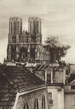 ritual-noise:  A German shell striking the cathedral at Rheims, France