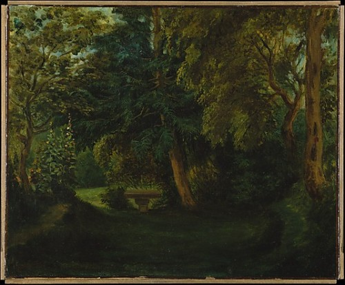 "Eugène DelacroixGeorge Sand's Garden at Nohant ca. 1843 oil on canvas, Metropolitan Museum of Art  ""What a repulsive woman Sand is!"" Chopin remarked to his friend Hiller after meeting the novelist, a cigar-smoking, trousers-sporting iconoclast divorcée with two children, at a Paris party in 1836. ""But is she really a woman? I am inclined to doubt it."" Sand—the pen name of Amandine Aurore Dupin—had only recently been legally separated from her husband the Baron Dudevant. She was one of the first prominent and outspoken feminists in the annals of European history, and though the socially fastidious and conservative Chopin did not return her affections early on, he was eventually seduced well enough. Contrary to several Hollywood portrayals, Chopin was not an especially amorous person, though in the years prior to his introduction to Sand he had been spurned by at least two serious love interests (or more accurately, by their aristocratic families). Sand and Chopin were constant companions in the ten years between 1837-1847, and in the early 1840s Chopin the musician, Delacroix the painter, and Sand the novelist formed the core of a de facto summer artist's retreat at Nohant, Sand's estate in the countryside of central France. There Chopin composed a significant portion of his output. The exact nature of their relationship remains clouded by rumor and partisan accounts, and certainly vacillated over time. But it is clear that Sand became a nurturing, quasi-maternal figure for the composer as his health worsened; as the relationship slowly soured, she came to speak of him as her ""third child."" In 1847 they stopped seeing one another altogether: Chopin had recently helped Sand correct the printer's galleys for"