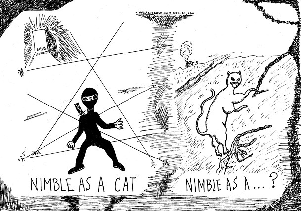 "Laughzilla's response to the old ""nimble as a cat"" saying and top 10 #ows #occupydexterity"