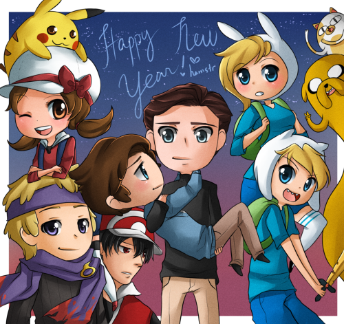 HAVE A HAPPY NEW YEAR, GUYS! I've been srsly working on this all day. XDDD;  I hope you all have a great time and good luck with making and fulfilling your New Year's Resolutions! Here's the picture without Charles and Erik blocking everyone lol. XDD