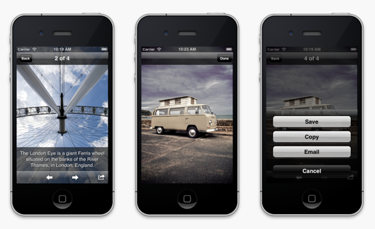 MWPhotoBrowser for iOS now supports customisable captions and photo actions + many more optimisations.